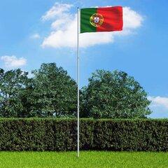 vidaXL Portugāles karogs un karoga masts, alumīnijs, 6 m cena un informācija | Karogi un aksesuāri | 220.lv