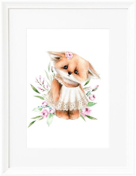 Glezna bērniem baltā rāmī Sleepy Foxy, 30 x 40 cm