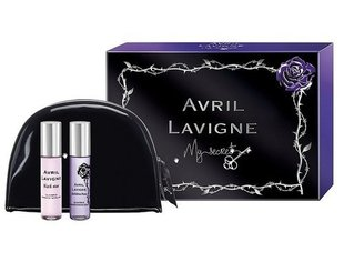 Komplekts Avril Lavigne My Secret: Black Star edp 10 ml + Forbidden Rose edp 10 ml + kosmētikas somiņa
