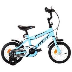 Bērnu velosipēds, 12 collas, melns ar zilu цена и информация   Bērnu velosipēds, 12 collas, melns ar zilu   220.lv