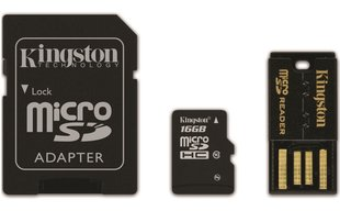 Kingston MicroSDHC 16GB Class10 + SD и USB адаптер