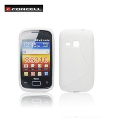 Forcell Back Case S-Line gumijots telefona apvalks priekš Samsung S6310 Galaxy Young, Balts