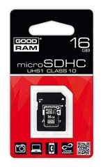 GoodRam 16GB microSDHC UHS I 10k Class + SD adapteris
