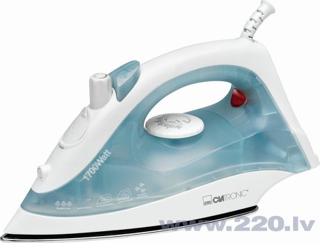 Clatronic DB 3485 Steam Iron, ceramic sole, Steam jet function, spray device and vertical steam, self-cleaning, 2200 W, White/Blue