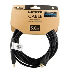 4World 08606 HDMI Vads V1.4 Ar Internetu type A - 19/19 male/male Gold Platted 5m Melns (Bulk)