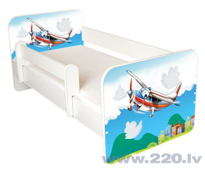 Bērnu gulta ar matraci un noņemamu maliņu Ami 43, 140x70cm