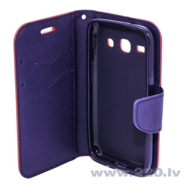 Telone Fancy Diary Book Case ar stendu Apple iPhone 4 4S sāniski atverams Sarkans/Zils