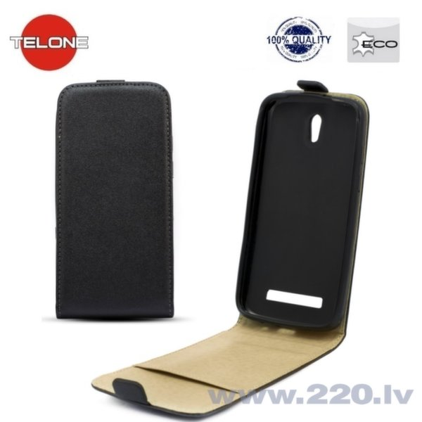 Telone Shine Pocket Slim Flip Case LG D290 L Fino telefona maks vertikāli atverams Melns