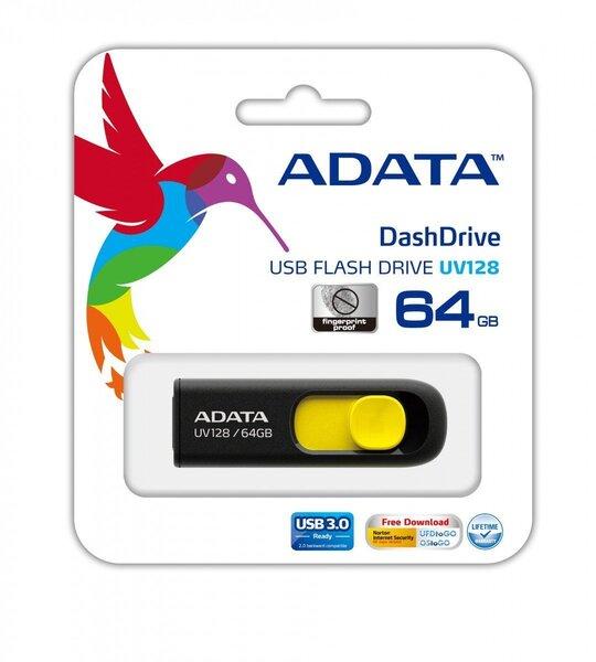 Atmiņas karte A-data UV128 64GB, USB 3.0 Melna/Dzeltena cena