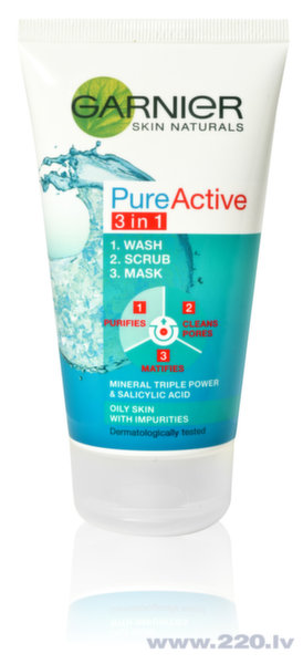Garnier Skin Naturals Pure Active 3 in 1 skrubis, 150 ml