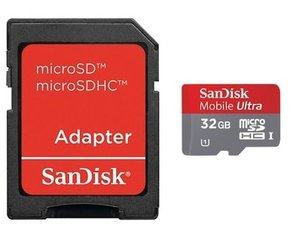 SanDisk Ultra microSDHC Android 32GB Class10 UHS-I + SD adapteris