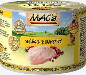 Konservi kaķiem Mac's Poultry & Cranberry 800 g