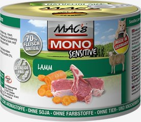 Konservi kaķiem Mac's Mono Sensitive Lamb (100%) + Carrots 200 g