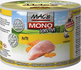 Konservi kaķiem Mac's Mono Sensitive Turkey (100%) + Carrots 400 g