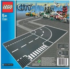 7281​ LEGO® City T-Junction & Curved Road Plates ceļš