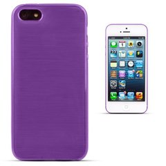 Forcell Jelly Brush Perlamutra telefona silikona apvalks Apple iPhone 5 5S Violets