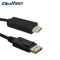 Qoltec 50440 HDMI Male 19M to DisplayPort v1.1 Male 1080p Cable 1m Black