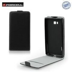 Forcell Flexi Slim Flip Samsung i9000 Galaxy S vertikāli atverams silikona ietvarā Melns