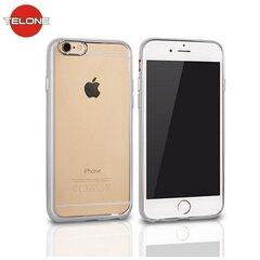 Telone Super Plāns Caurspīdīgs Silikona Aizmugures Apvalks Apple iPhone 4 4S ar Sudraba krāsas rāmīti