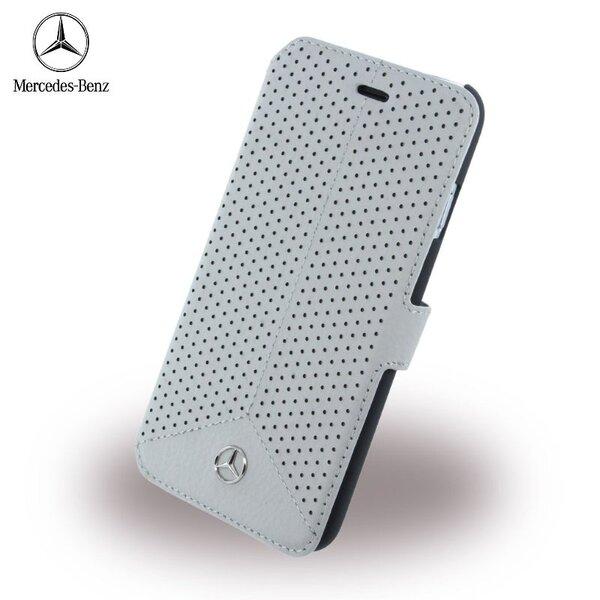 Mercedes MEFLBKP6PEGR Pure Line Perforēts Ādas Super plāns sāniski atverams maks Apple iPhone 6 6S 4.7 inch Pelēks