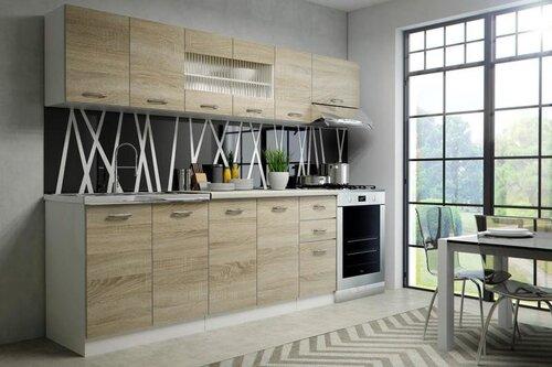 Virtuves skapīšu komplekts Halmar Perla 260, balta/ozola krāsā cena un informācija | Virtuves komplekti | 220.lv