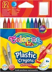 Plastmasas krītiņi ar dzēšgumiju COLORINO KIDS, 12 krāsas, 67331PTR cena un informācija | Modelēšanas un zīmēšanas piederumi | 220.lv