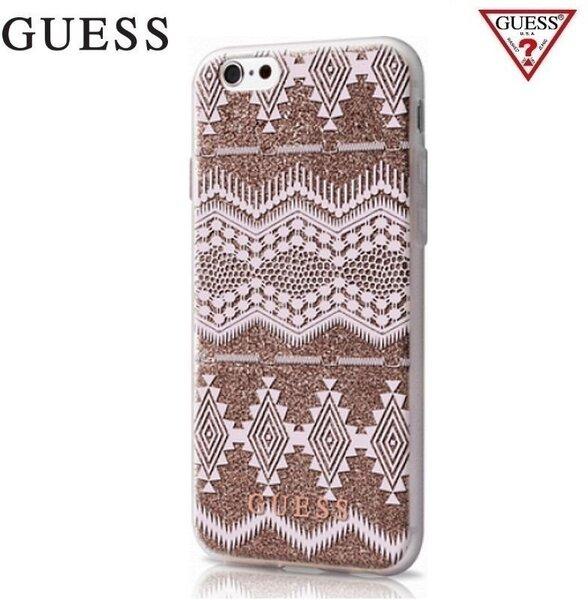 GUESS GUHCP6TGTA Aztec 3D Эффекта ультра-тонкий силиконовый задний корпус Apple iPhone 6 / 6S 4.7inch Прозрачный/Коричневый