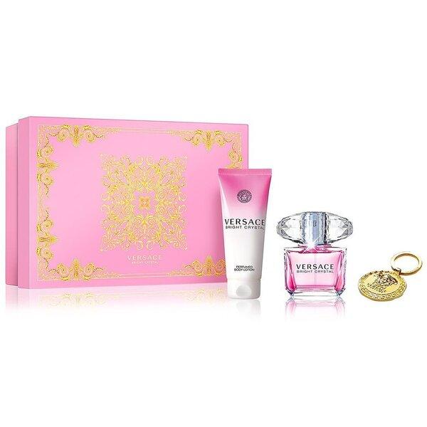 Комплект Versace Bright Crystal: edt 90 мл + лосьон для тела 100 мл + брелок для ключей