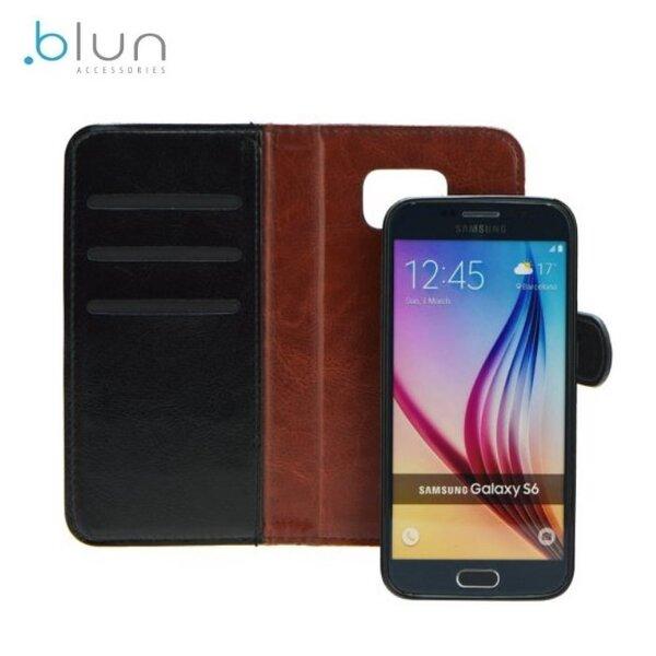 Blun Twin 2in1 Eko ādas sāniski atverams maks ar magnētisku maku-apvalku priekš Samsung G900 G903 Galaxy S5 S5 Neo Melns