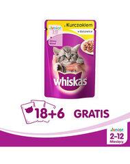 Whiskas Junior konservi kaķēniem ar vistas gaļu, 100 g x 18 + 6 DĀVANĀ