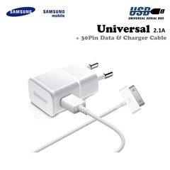 Samsung ETA-U90EWE Universāls 10W USB Ligzdas 2A Lādētājs + ECB-DP4AWE 30 Pin Tab2 Kabelis Balts (OEM)