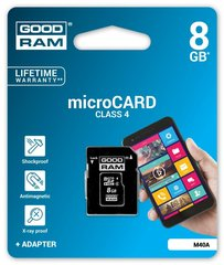 Goodram micro SDHC 8GB Class 4 + adapteris