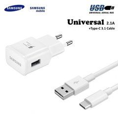 Samsung EP-TA20EWE Adaptive USB Plug 2A Fast Charger + EP-DN930CWE Type-C 3.1 Data Cable White (OEM)