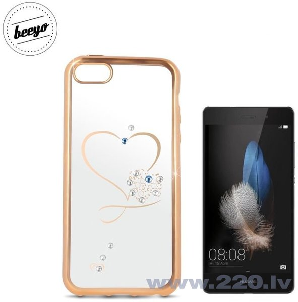 Чехол-крышка Beeyo Glamour Series Heart для Huawei P8 Lite Прозрачный/Золотистый