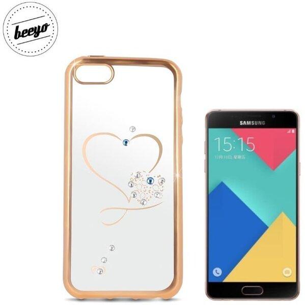Чехол-крышка Beeyo Glamour Series Heart для Samsung Galaxy A5 (A510F) (2016) Прозрачный/Золотистый