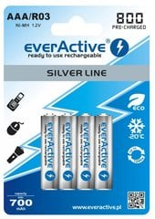 everActive Silver Line Ready to Use 800mAh AAA, 4 gab.