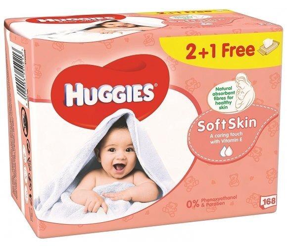 Mitrās salvetes Huggies Soft Skin 168 gab.