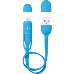 USB - microUSB/Lightning savienotājkabelis ABC TECH 128908 (30 cm), Zils