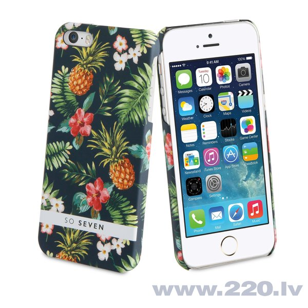 Apple iPhone 5/5S/SE apvalks Jungle Ananas + PowerBank 2600 mAh So Seven, Melns