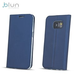 Sāniski atverams maciņš Blun Premium Matt Eco-leather Smart Magnetic Fix Book priekš Samsung G955 Galaxy S8 Plus / S8+, Zils
