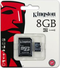 Kingston microSDHC 8GB Class4 + SD adapteris цена и информация | Datoru komponentes | 220.lv