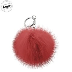 Piekariņš Beeyo Soft Fluffy Ring the Pompom & Smartphone Finger Holder and Stand Gadget sarkans/sudraba