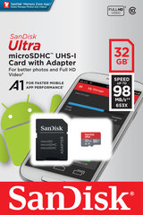 Atmiņas karte Sandisk 32GB Ultra Android microSDHC + SD Adapter + Memory Zone App 98MB/s A1 Class 10 UHS-I