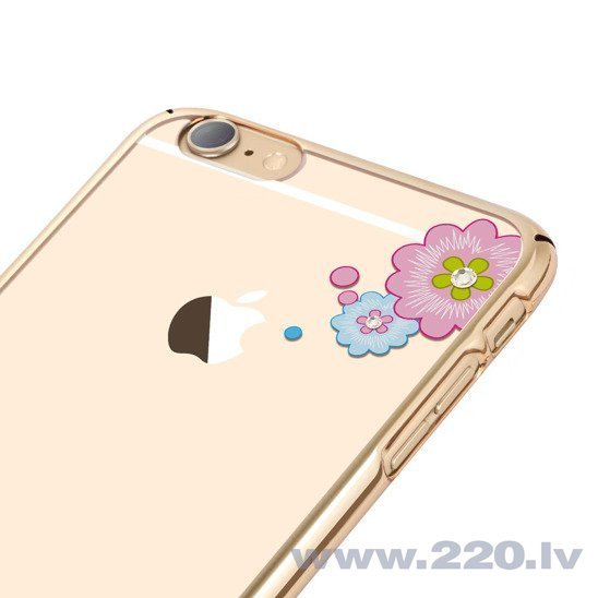 X-Fitted Plastic Case With Swarovski Crystals for Apple iPhone 6 / 6S Gold / Flourishing Bloom internetā