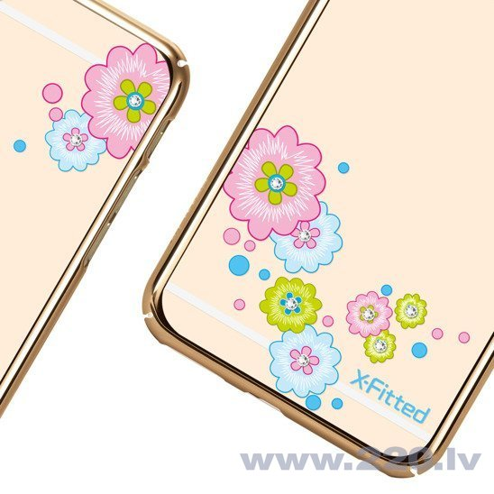 X-Fitted Plastic Case With Swarovski Crystals for Apple iPhone 6 / 6S Gold / Flourishing Bloom atsauksme