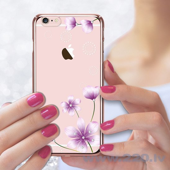 X-Fitted Plastic Case With Swarovski Crystals for Apple iPhone 6 / 6S Rose gold / Secret Fragrance