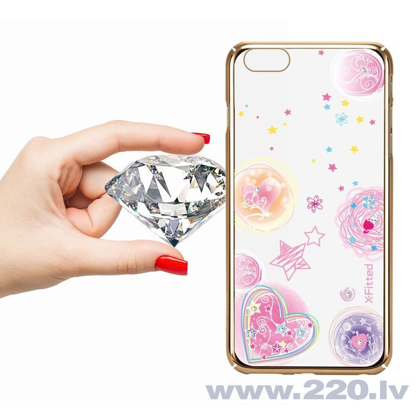 X-Fitted Plastic Case With Swarovski Crystals for Apple iPhone 6 / 6S Gold / Pink Dream