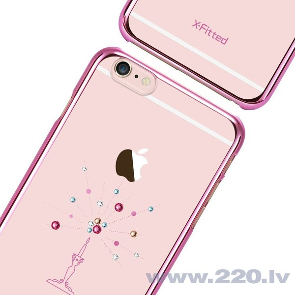 X-Fitted Plastic Case With Swarovski Crystals for Apple iPhone 6 / 6S Pink / Starry Sky lētāk