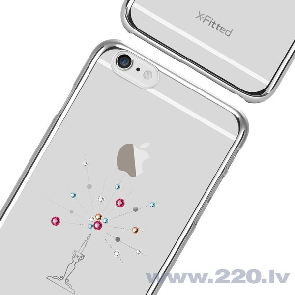 X-Fitted Plastic Case With Swarovski Crystals for Apple iPhone 6 / 6S Silver / Starry Sky lētāk