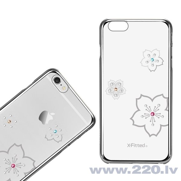X-Fitted Plastic Case With Swarovski Crystals for Apple iPhone 6 / 6S Silver / Blossoming lētāk